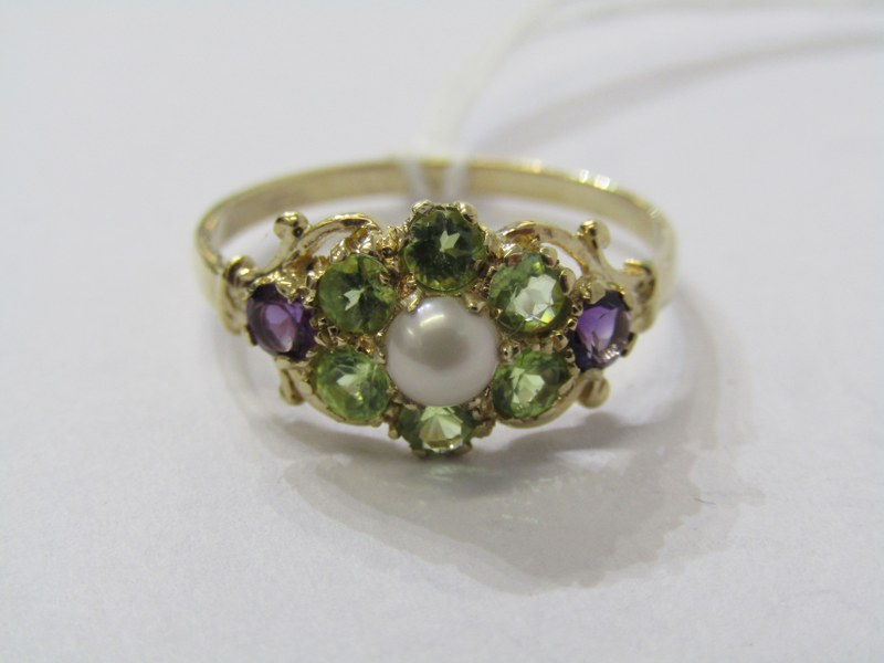 9CT YELLOW GOLD LADIES SUFFREAGETTE STYLE CLUSTER RING, peridot, amethyst & cultured pearl to give