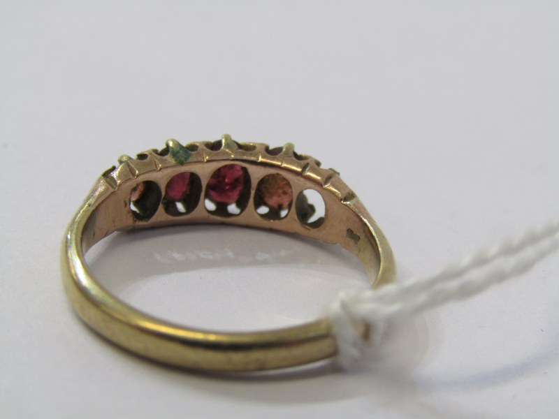 9ct YELLOW GOLD GARNET RING, (missing 1 stone), size N/O - Image 3 of 3