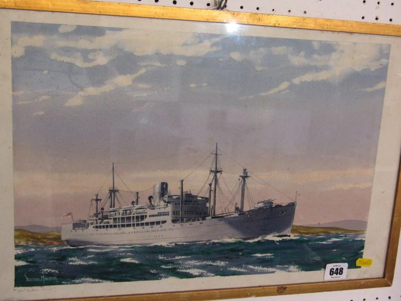 "SHIP PORTRAIT, Winston Megoran, signed watercolour, ""HMS Southern Pride"", 11"" x 16.5"""