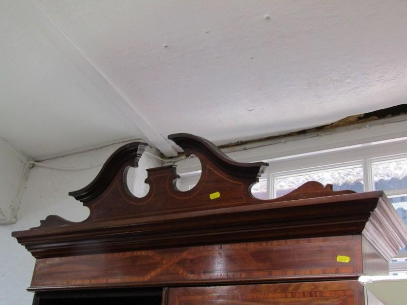SHERATON REVIVAL BUREAU/BOOKCASE, satinwood cross banded mahogany with conche shell medallion, 2 - Image 5 of 5
