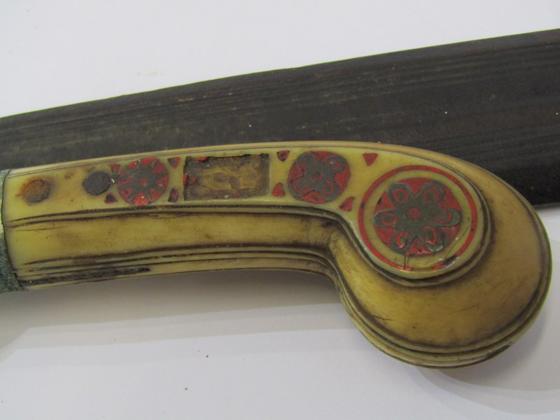 """EDGED WEAPON, Eastern carved bone handle dagger with decorated leather scabbard, 14.5"""" overall - Image 3 of 3"""