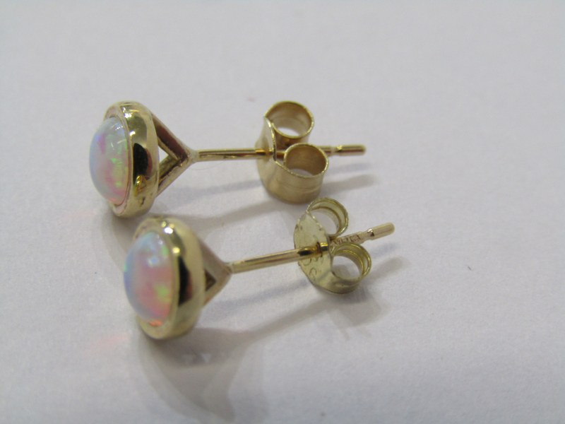 PAIR OF 9CT YELLOW GOLD OPAL STUD EARRINGS, with butterfly backs - Image 2 of 2