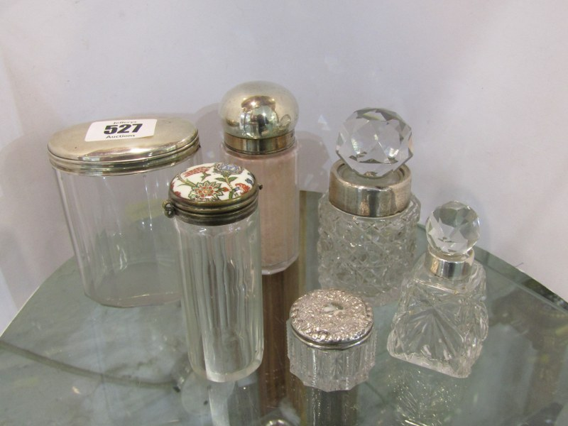 SILVER TOPPED SCENT BOTTLES, collection of 6 scent and powder bottles, 2 silver topped scent