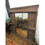 ANTIQUE CARVED OAK BEVELLED EDGE OVER MANTEL, ornate foliate and ribbon carved inset side panels,