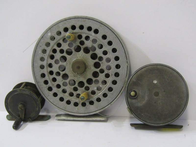 """ANGLING, Hardy 'Perfect' fly reel, also aluminium 5.25 centre pin fishing reel and 2"""" brass winch"""