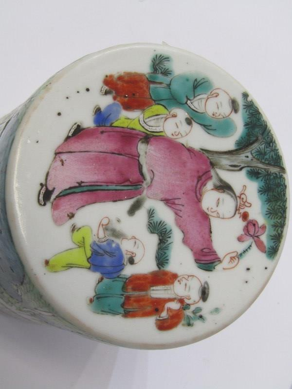 """ORIENTAL CERAMICS, Famille Verte 4 tier cylindrical stacking jar decorated with children playing, 4"""" - Image 2 of 6"""