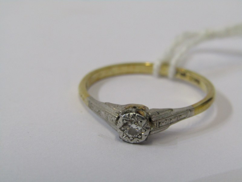 SOLITAIRE RING, 18ct yellow gold and platinum mounted solitaire diamond ring, size 'N'