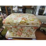 """FLORAL UPHOLSTERED BOX OTTOMAN, 24"""" width"""