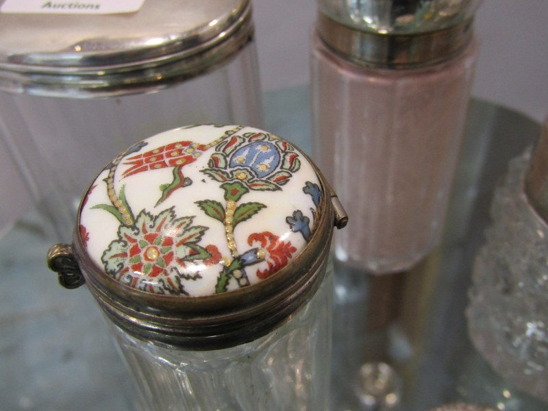 SILVER TOPPED SCENT BOTTLES, collection of 6 scent and powder bottles, 2 silver topped scent - Image 2 of 2