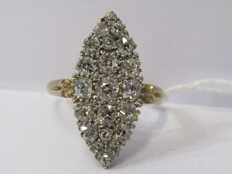 VINTAGE 18ct YELLOW GOLD DIAMOND SET MARQUISE CLUSTER RING, total diamond weight in excess of 2ct,