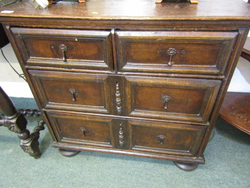CROMWELLIAN OAK NARROW CHEST OF DRAWERS, 2 short and 2 long drawers with plain fielded design and