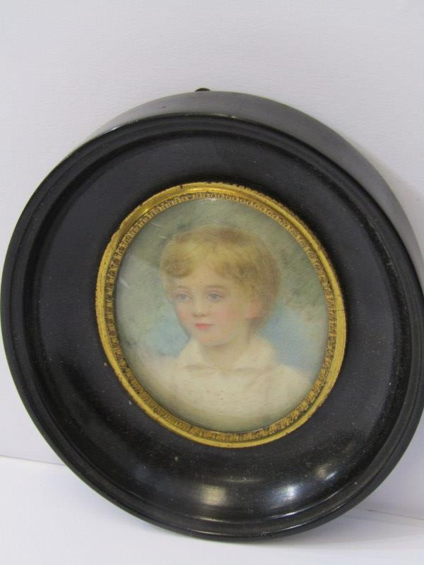 """VICTORIAN PORTRAIT MINIATURE """"Young Boy"""", inscribed on reverse"""