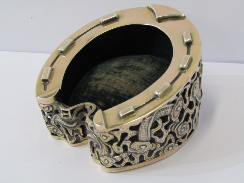 CHINESE SILVER HORSE SHOE TRINKET STAND, by Wang Hing, decorated with oriental dragons, quality