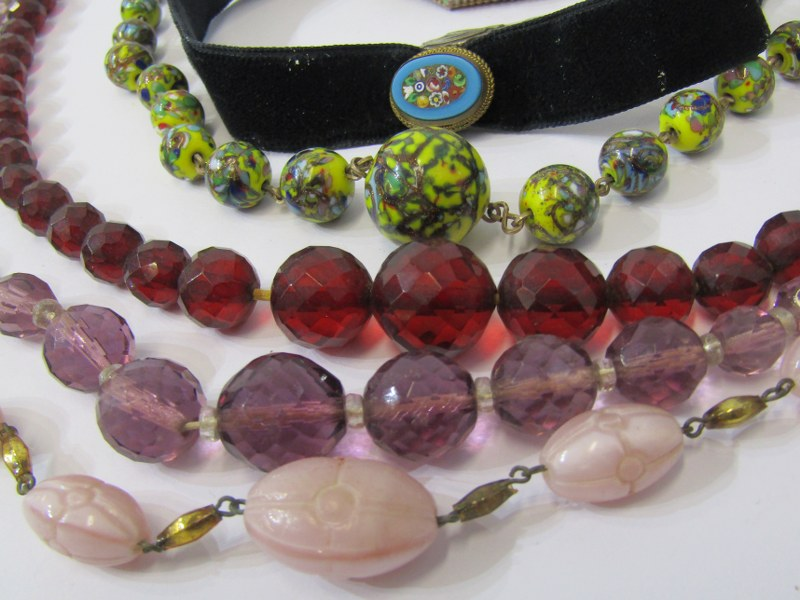 COSTUME JEWELLERY, selection of vintage costume jewellery including beads, ribbons etc. - Image 2 of 2