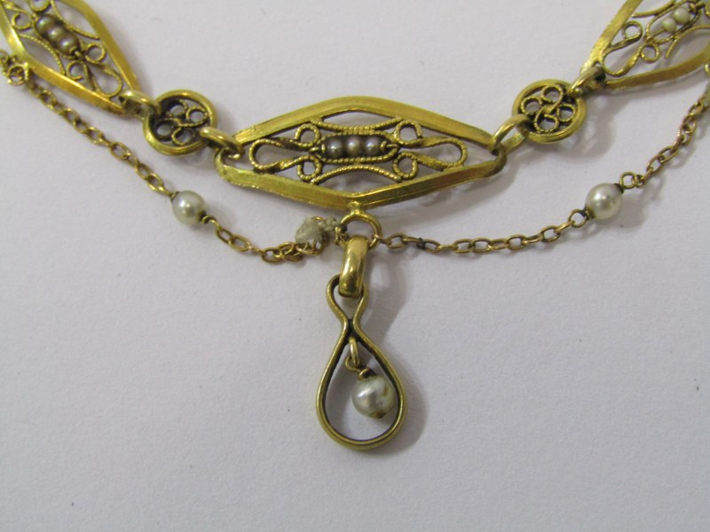 GOLD FILIGREE WORK SEED PEARL SET NECKLACE - Image 2 of 2