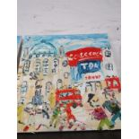 """S. HAYDEN, signed painting on canvas """"Picadilly Circus"""", 23.5"""" x 23.5"""""""