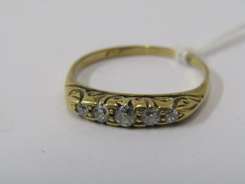 18CT YELLOW GOLD OLD CUT 5 STONE DIAMOND BOAT STYLE RING, size Q/R
