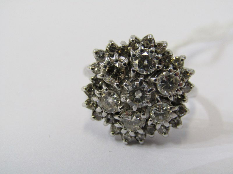 18CT WHITE GOLD 7 STONE DIAMOND CLUSTER RING, approx. 2cts total diamond weight, 5.8grms in