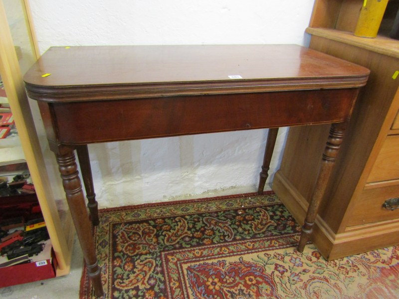 "19th CENTURY MAHOGANY TEA TABLE, fold top with inlaid frieze on tapering turned legs, 36"" width"