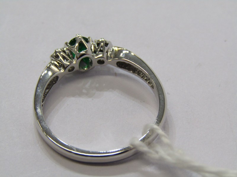 9CT WHITE GOLD MORGANITE & DIAMOND 3 STONE RING, size N/O - Image 3 of 3