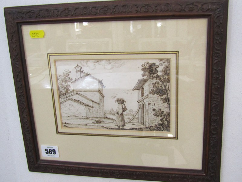 "G. SANTINI, 17th Century sepia pen drawing ""Figure in Italian Landscape"", signed with monogram, 4.5"""