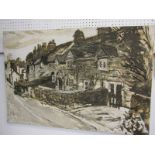 """FRED YATES, signed sepia oil on canvas """"Cornish Cottages"""", 24"""" x 36"""" (presented by Artist to Vendor)"""