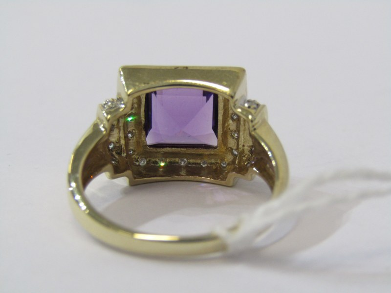 9ct YELLOW GOLD AMETHYST & DIAMOND CLUSTER RING, principal square cut amethyst surrounded by - Image 3 of 3