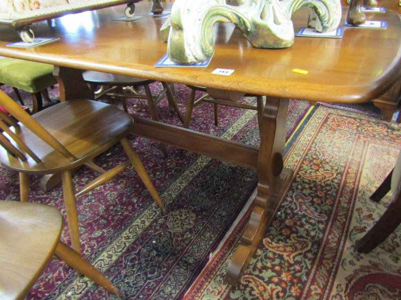 ERCOL, Ercol elm rectangular top dining table with set of 4 spindleback highback dining chairs - Image 3 of 3
