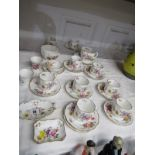 """ROYAL CROWN DERBY, """"Derby Posies"""" teaware of 9 cups, 10 saucers, sugar bowl and 8 other pieces"""