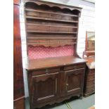 19TH CENTURY FRENCH DRESSER, open shelf plate rack with spindle gallery above twin cupboard and twin