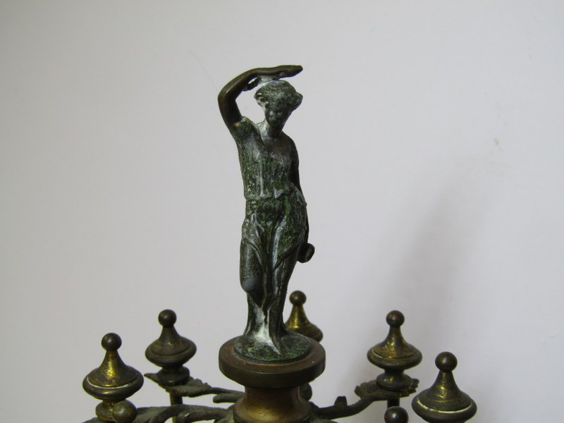 VICTORIAN BOBBIN HOLDER, Marble base table top bobbin holder of 8 lacquered brass supports and - Image 3 of 4