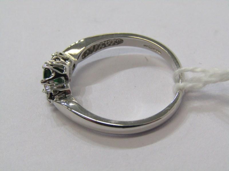 9CT WHITE GOLD MORGANITE & DIAMOND 3 STONE RING, size N/O - Image 2 of 3
