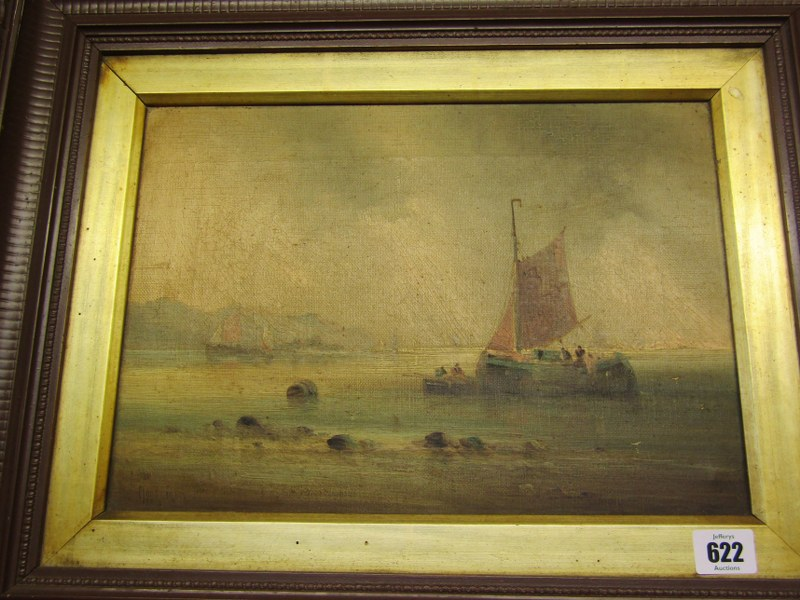 """19th CENTURY ENGLISH SCHOOL, indistinctly signed """"Offloading the Catch"""", 10"""" x 13.5"""" - Image 2 of 2"""