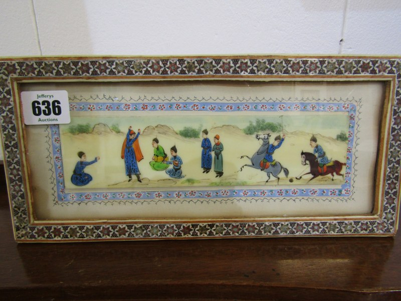 """PERSIAN ART, painted opaque panel """"The Polo Match"""" in inlaid bone frame, 2"""" x 8"""""""