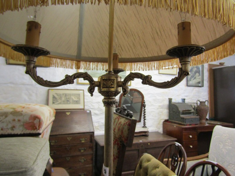 LIGHTING, brass standard lamp with triple branch light fitting and tripod scroll base - Image 3 of 3