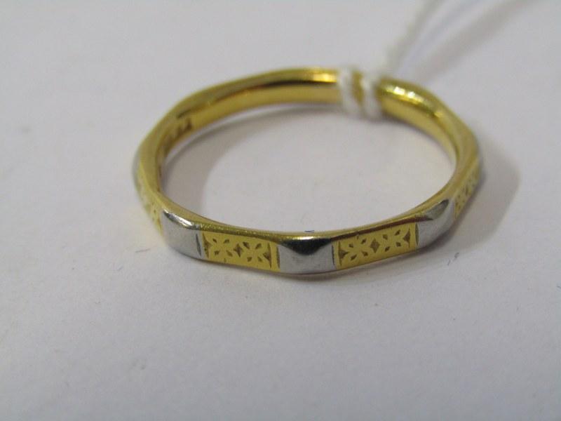 22ct GOLD & PLATINUM OCTAGONAL DESIGN WEDDING BAND, approximately 3.4grms