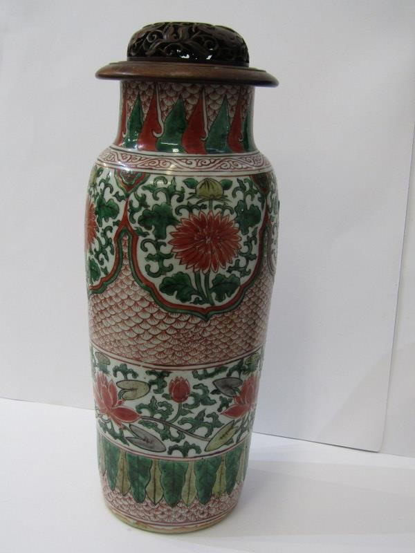 "ORIENTAL CERAMICS, Famille Verte cylindrical shouldered 13.5"" porcellanous stoneware vase"