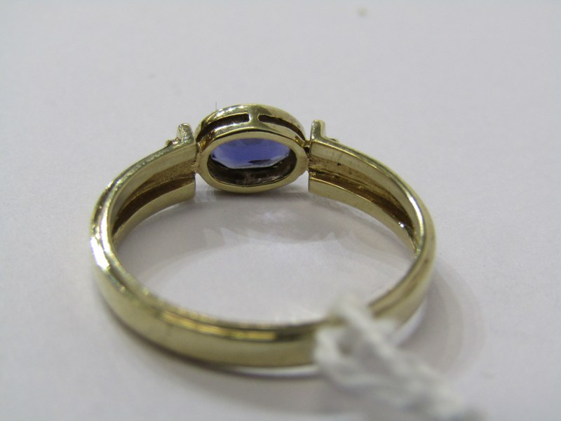 9CT YELLOW GOLD TANZANITE SOLITAIRE RING, size O/P - Image 3 of 3