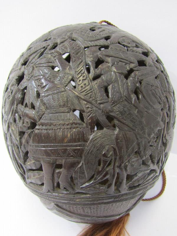 MARITIME, Bugbear carved coconut flask with pierced body depicting Bull Fighter and South American - Image 3 of 5