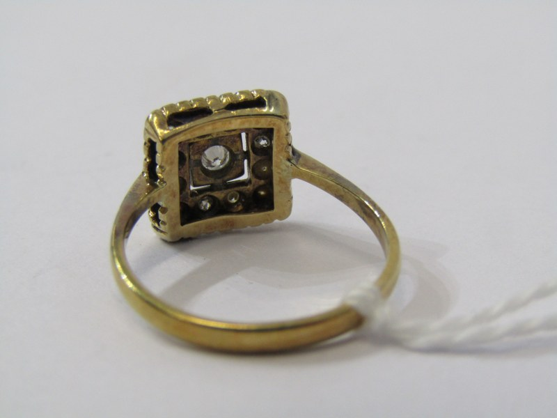 VINTAGE 18ct YELLOW GOLD & PLATINUM DIAMOND CLUSTER STYLE RING, size J - Image 3 of 3