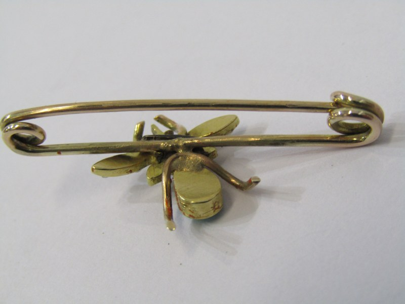VINTAGE GOLD TURQUOISE & SEED PEARL BUG BROOCH - Image 2 of 2
