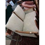ART NOUVEAU SETTEE, carved oak framed 2 seater settee, reupholstered in floral relief damask and