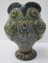 """DOULTON LAMBETH OWL, novelty Owl lidded jar, dated 1883, signed """"AS"""", repair to main body, 7.5"""""""
