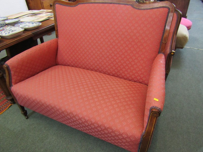 PAIR OF WALNUT MARQUETRY TUB ARMCHAIRS AND MATCHING 2 SEATER SETTEE - Image 2 of 4
