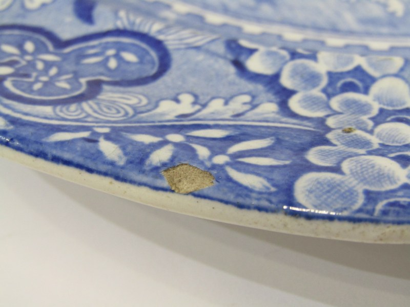 """ANTIQUE WELSH POTTERY BLUE TRANSFERWARE, set of 6 """"Gateway"""" pattern 10"""" plates by Baker, Evans and - Image 4 of 5"""