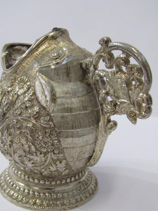"""PERSIAN NOVELTY JUG, white metal jug of a grotesque fish, with ornate foliate body and handle, 3""""( - Image 3 of 5"""