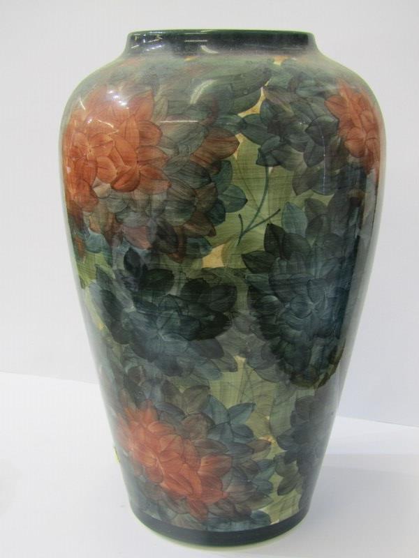 "JERSEY POTTERY, floral decorated 12"" high shouldered vase, signed CL"