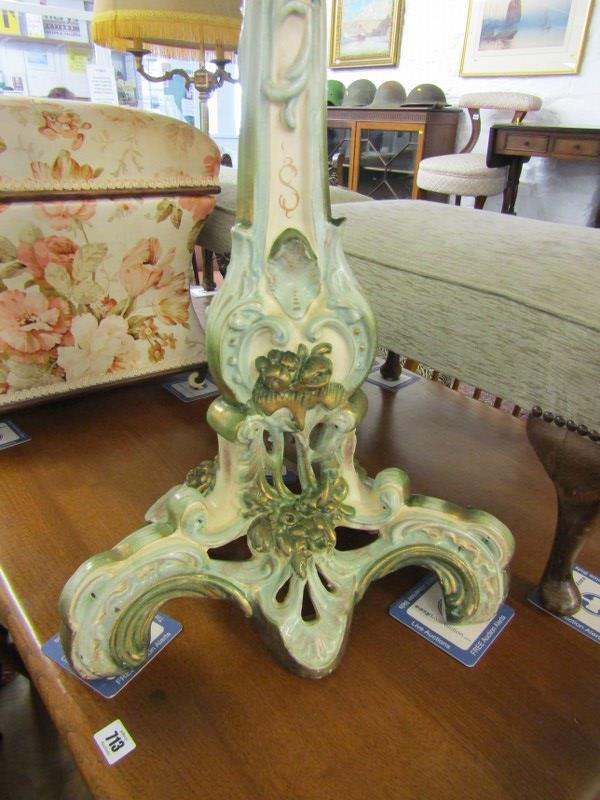 ORNATE POTTERY WINE TABLE, floral and foliate design base tripod wine table with floral painted dish - Image 2 of 3