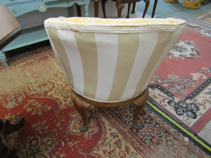 UPHOLSTERED TUB DESIGN DRESSING CHAIR with swivel circular base on cabriole legs - Image 2 of 2