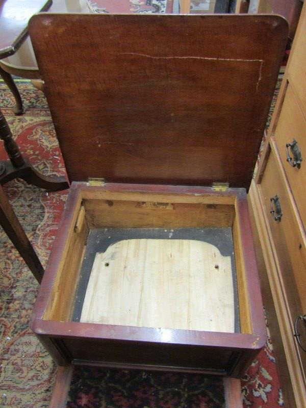 "VICTORIAN MAHOGANY BOX COMMODE, inset carpet top, 20"" width - Image 3 of 3"